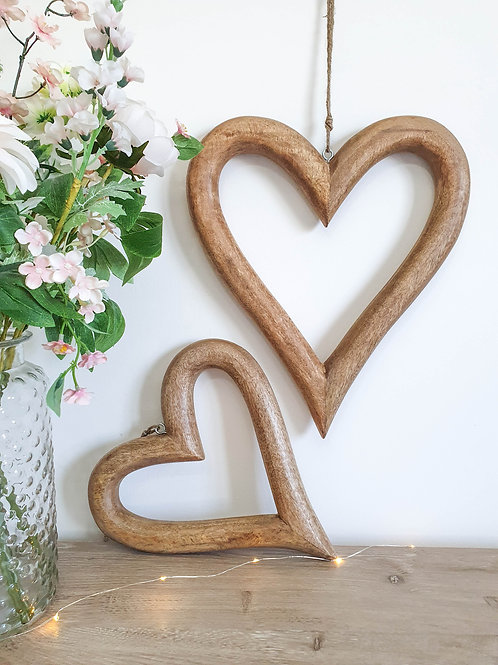 Natural Wooden Hanging Hearts S/2
