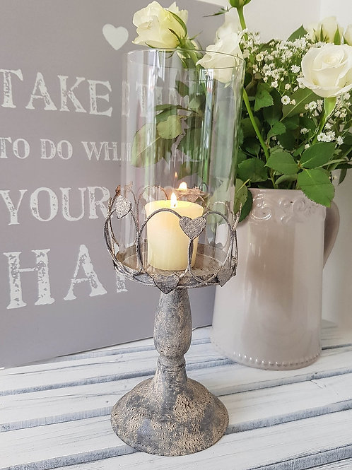Romantic Wire Heart Tall Candle Holder