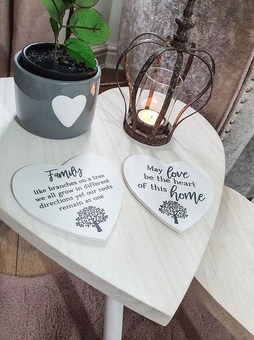 Family/Home White Heart Coasters S/2