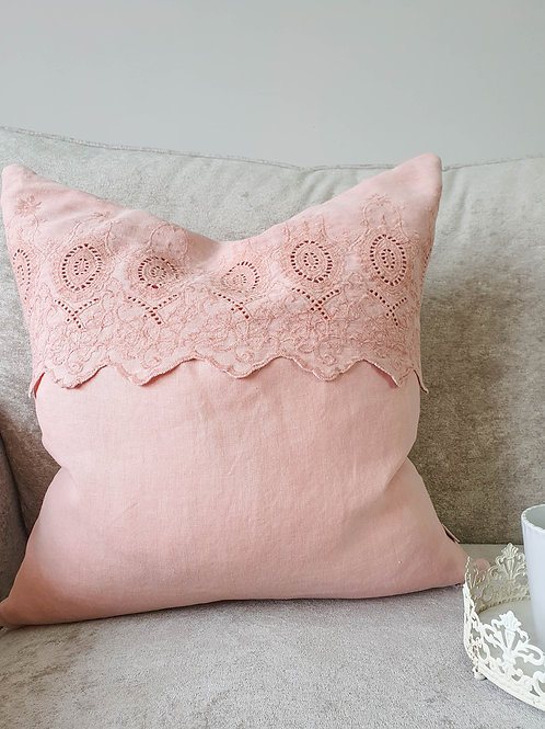 Dusky Pink Embroidered Cushion