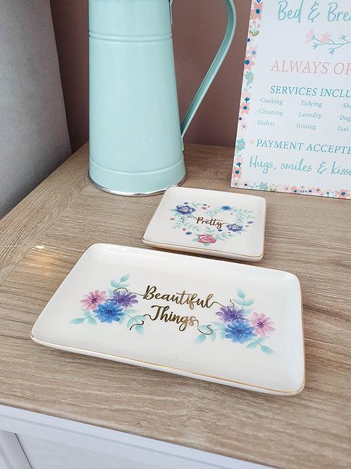 White Floral Trinket Dish