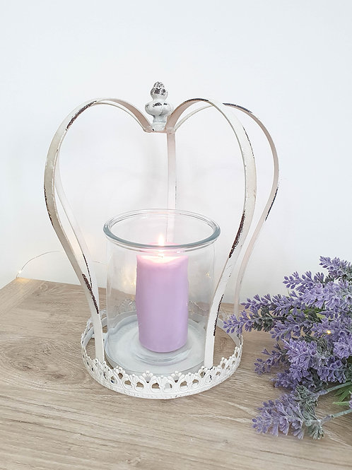 Rustic White Crown Candle Holder XL