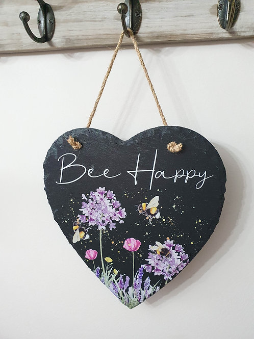 Bee Happy Heart Shaped Slate Sign