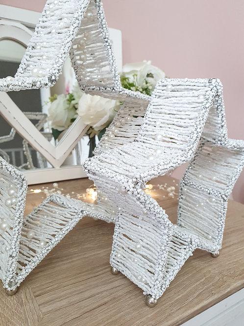 White Beaded Pearl Standing Stars