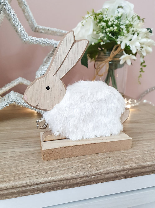 White Fluffy Wooden Bunny Decoration