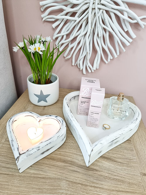 Distressed White Wooden Heart Tray