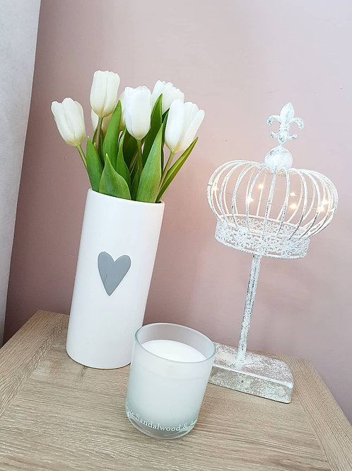White Vase With Grey Heart **IMPERFECT**
