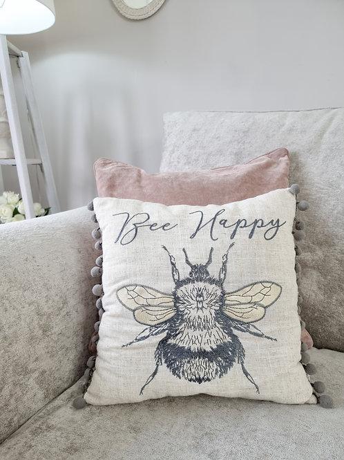 Bee Happy Pom Pom Cushion