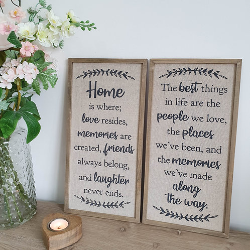 Tall Wooden Framed Hessian Wall Plaque