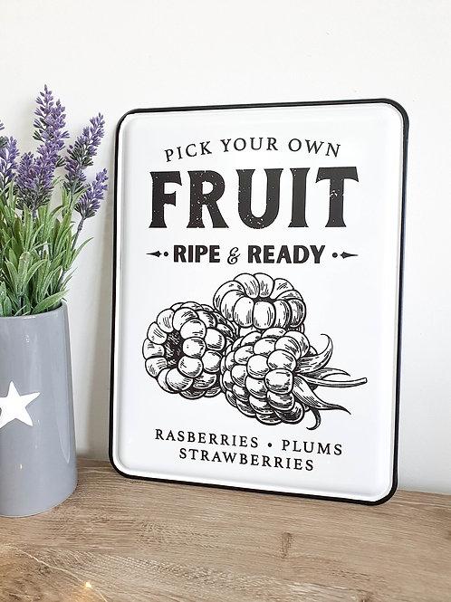 Vintage Fresh Fruit Enamel Plaque