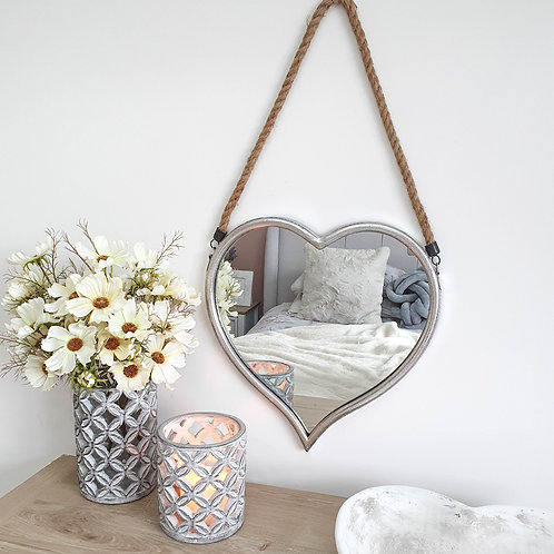 Silver Heart Shaped Mirror With Rope
