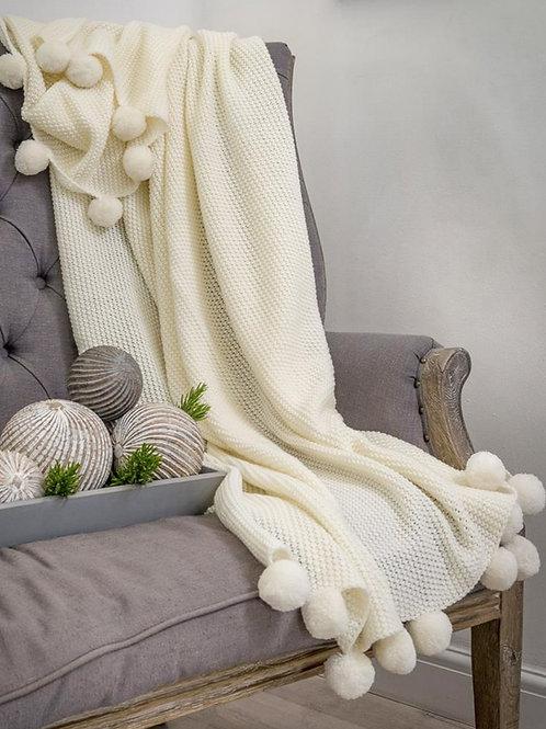Ivory Knitted Pom Pom Throw