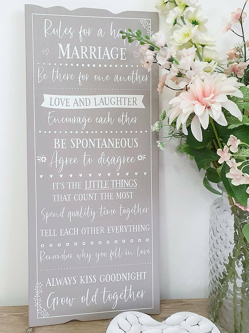 Grey And White Happy Marriage Plaque