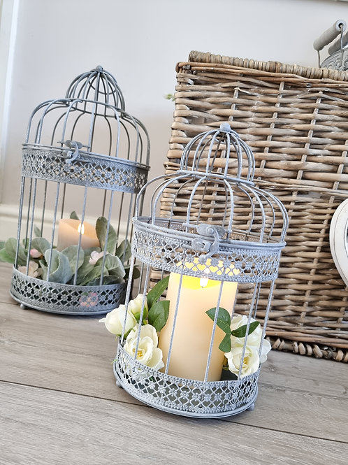 Rustic Grey Decorative Birdcage