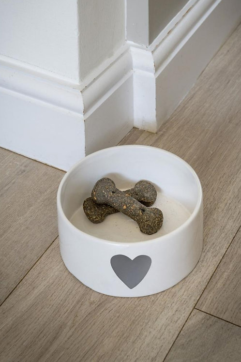 White Ceramic Bowl With Grey Heart **IMPERFECT**