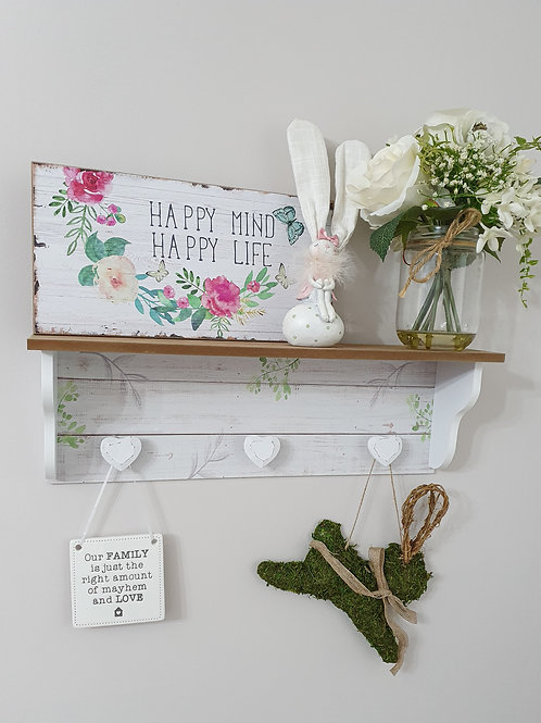 Nature Inspired Rustic Heart Shelf