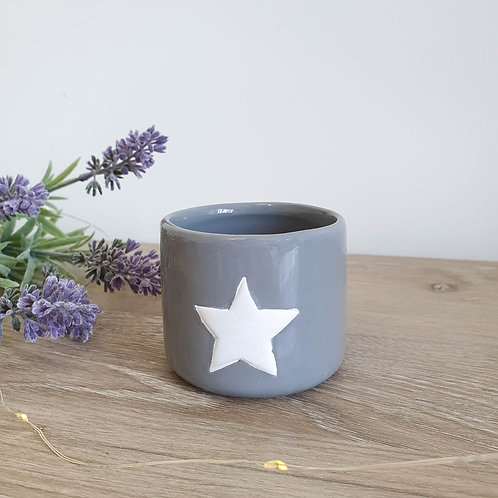 Grey Pot With White Star Small Only **IMPERFECT**