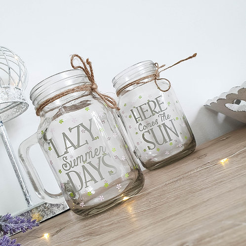 Ditsy Drinking Glass Jar Assorted