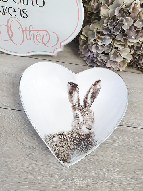 Large Heart Shaped White Hare Bowl