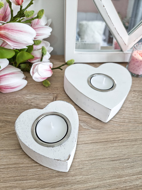 White Heart Candle Holders S/2