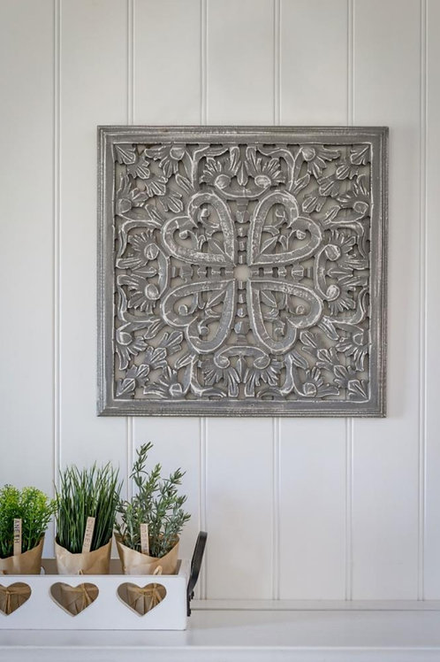 Grey Framed Carved Wall Panel