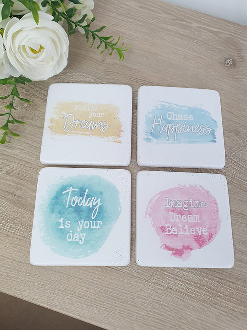 Positive Pastel Coloured Coasters