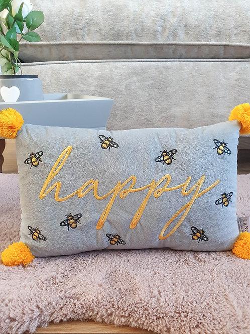 Bee Happy Mustard Pom Pom Cushion
