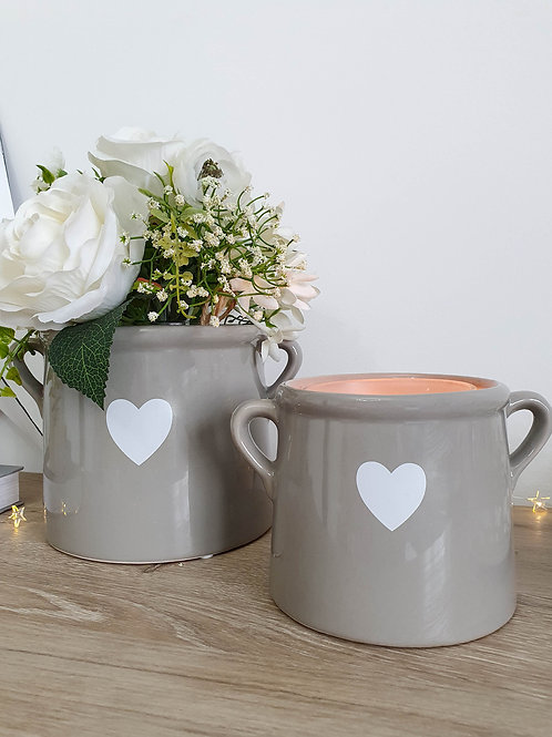 Grey & White Heart Pot With Handles