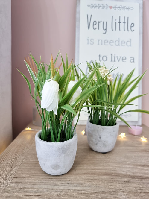 Mini White Summer Potted Faux Flower