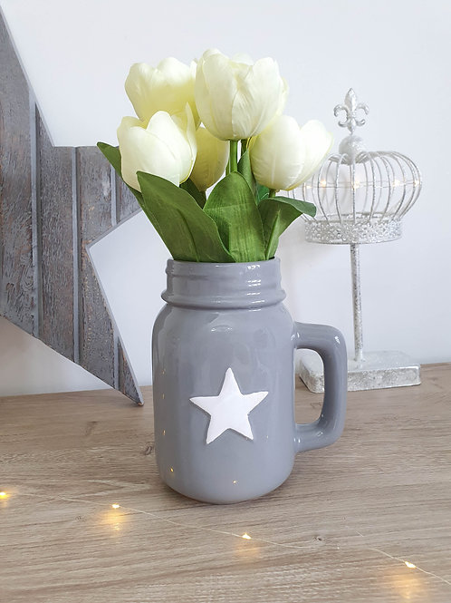 Grey Jar With White Star **IMPERFECT**