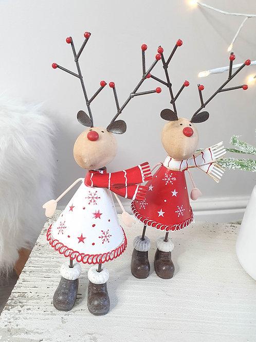 Ditsy Festive Metal Reindeer Figure