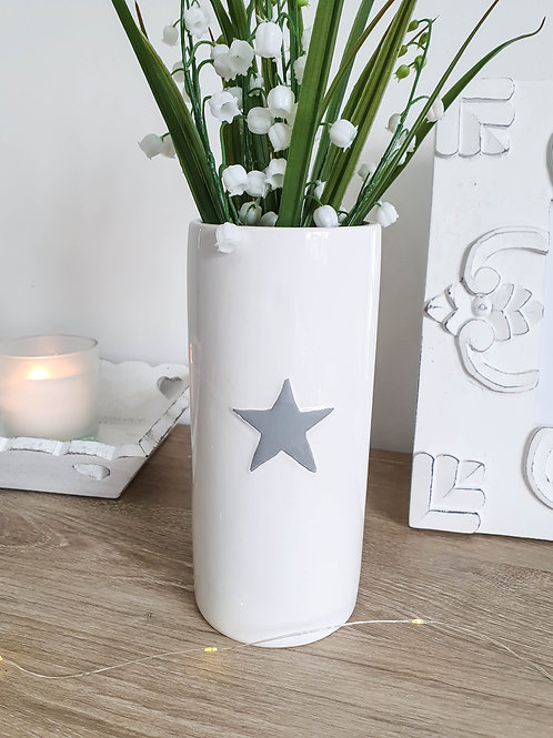 White Vase With Grey Star **IMPERFECT**