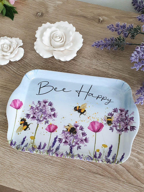 Floral Melamine Bee Happy Tray