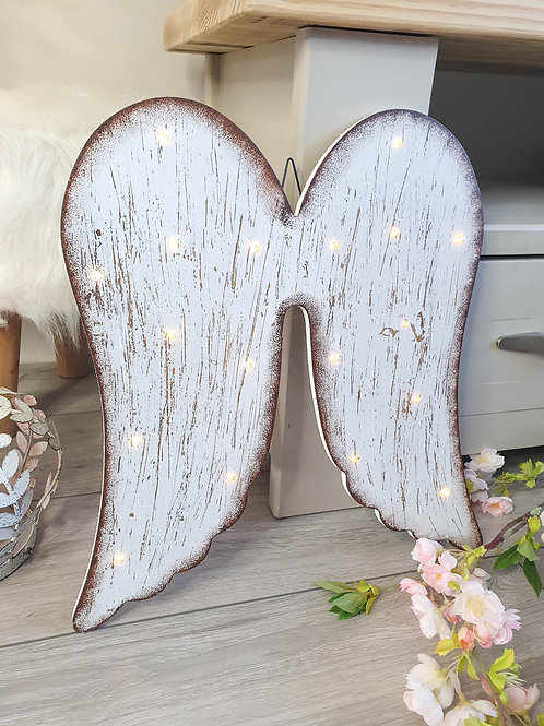 Distressed LED Hanging Angel Wings