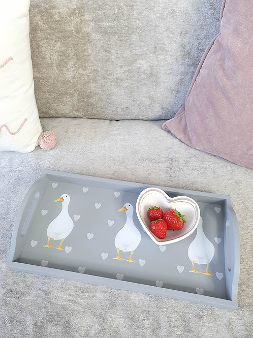 Grey Duck Tray With White Hearts
