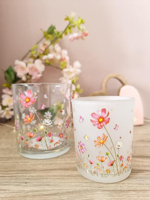 Spring Floral Glass Candle Holder