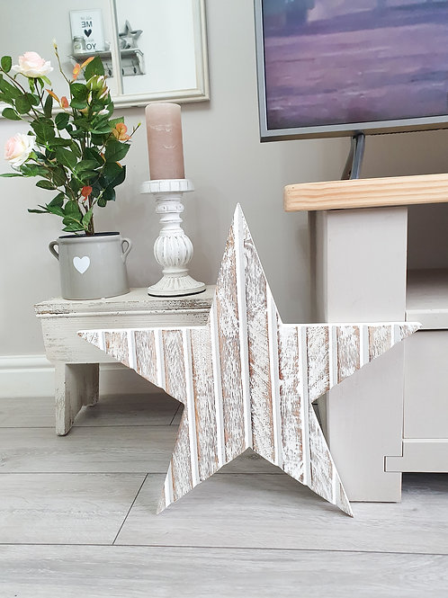 White T&G Wooden Star Wall Decor