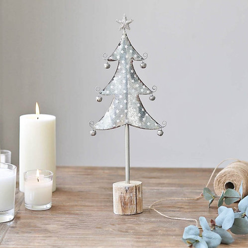 Silver Christmas Tree Figure With Bells