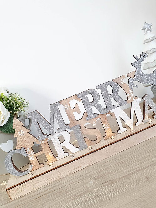 Light Up Merry Christmas Table Top Sign