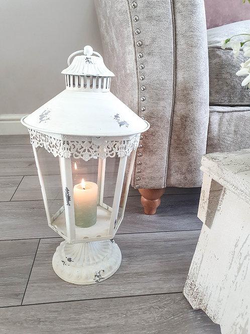 Rustic White Antique Laced Lantern