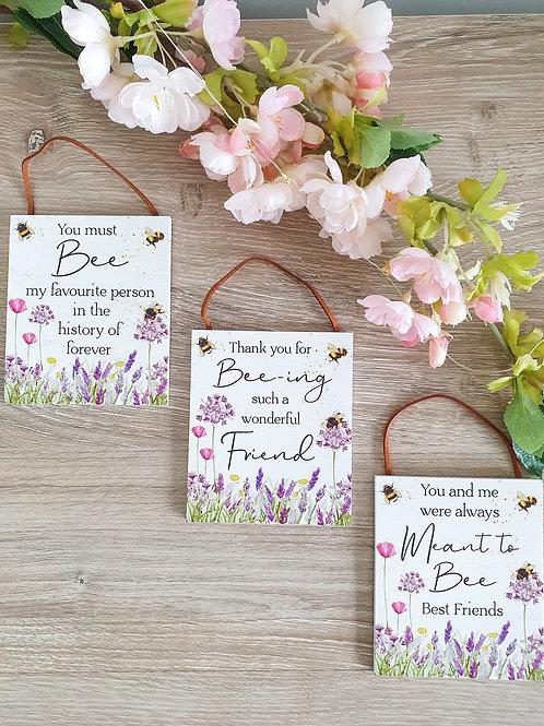 Mini Floral Friend Bee Plaque