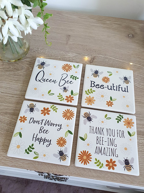 Spring Inspired Bee Coaster Set Of 4