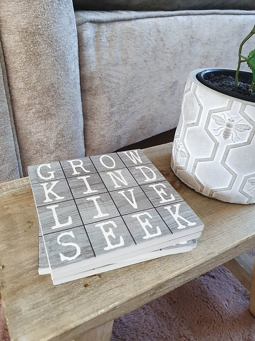 Tiled Grey Word Coasters S/4 **IMPERFECT**