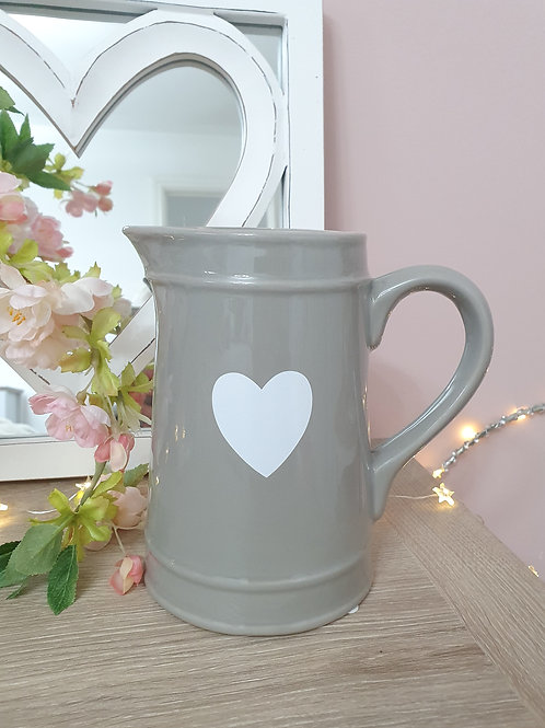 Grey Jug With White Heart Decal