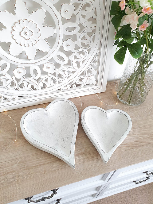 Handcarved Distressed White Heart Trays