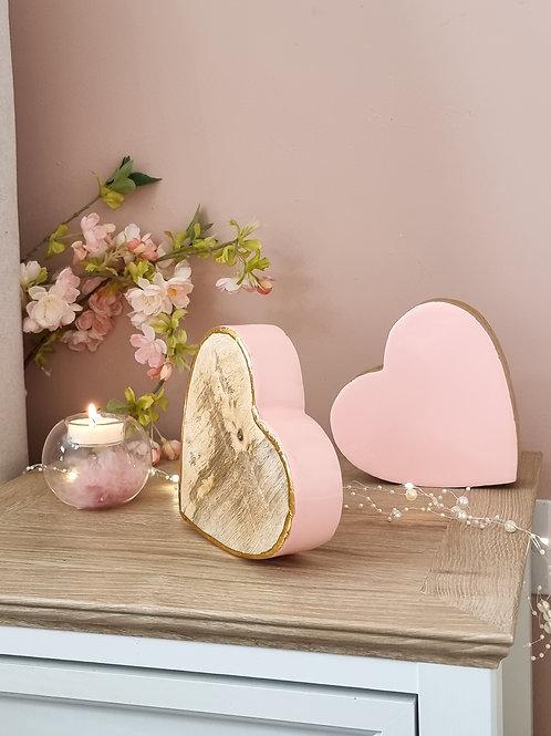 Glossy Pink Wooden Sleepy Hearts