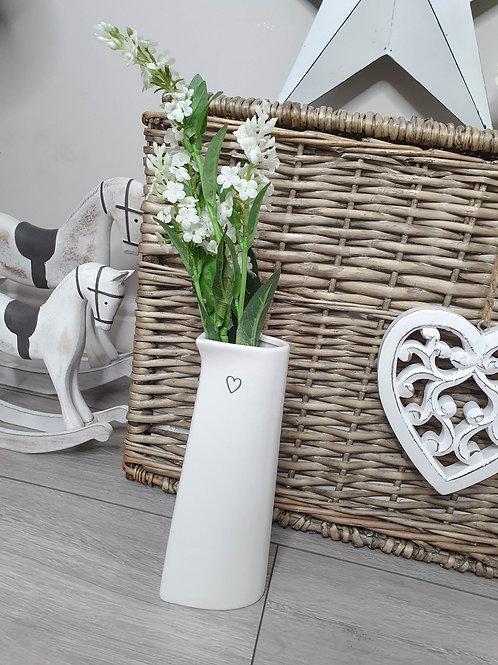 Heart Shaped Tall White Vase
