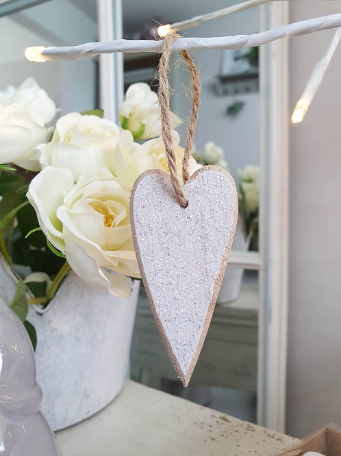 Glittery White Wooden Hanging Hearts