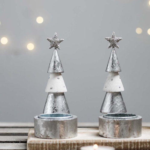 Silver & White Long Star Candle Holder
