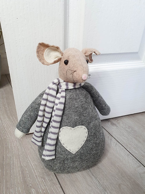 Grey Mouse Doorstop With Heart
